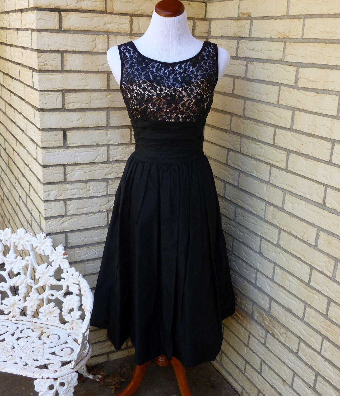 1950s Formal Dress Black Taffeta Peach Back Bow Lace Panel