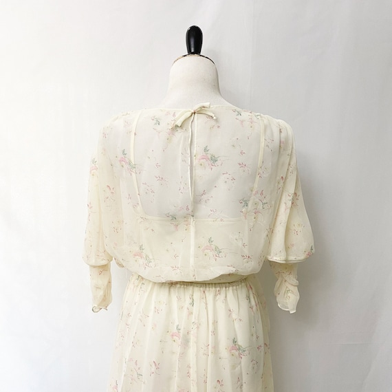 1970s Floral Sheer Dress With Slip Romantic Flora… - image 8