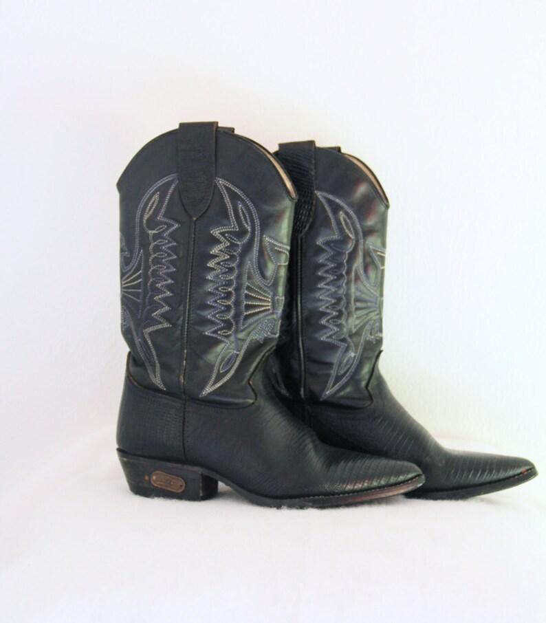 12b4e35832 Década de 1980 botas de vaquero vintage cuero negro cocodrilo