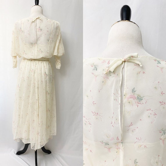1970s Floral Sheer Dress With Slip Romantic Flora… - image 2