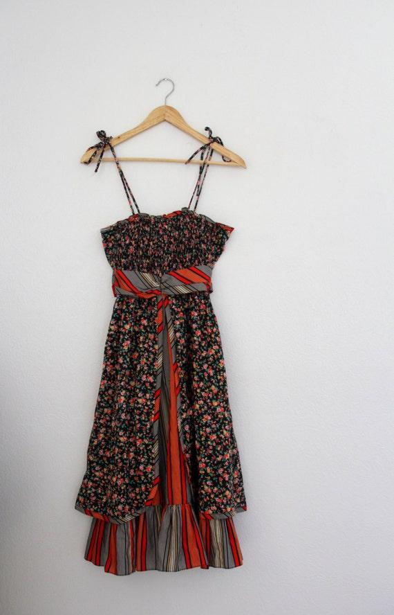 1970s Peasant Sundress Floral Stripes Black Red Sp