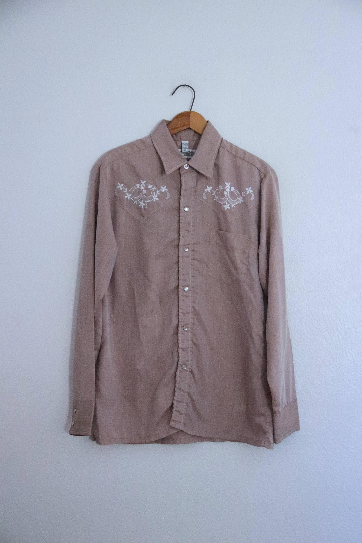 Manica lunga automatici perla camicia Tan guglia vintage uomo ricamato Horseshoes medio degli anni 1990