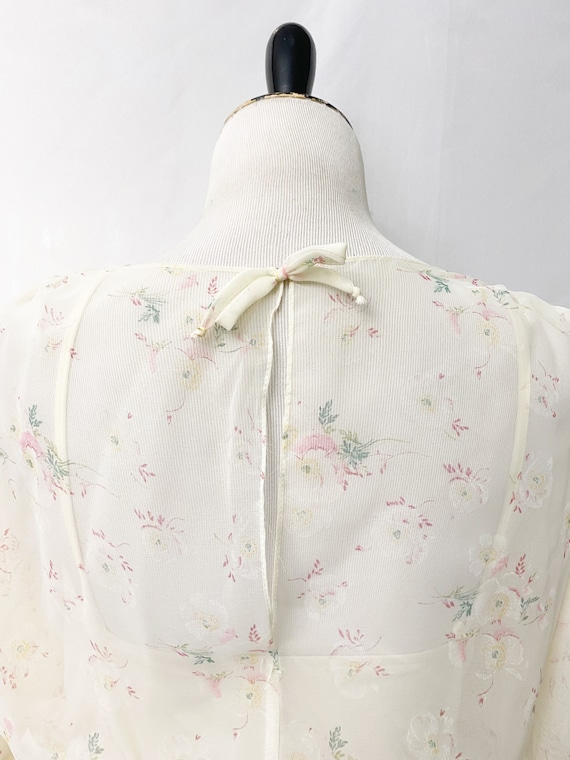 1970s Floral Sheer Dress With Slip Romantic Flora… - image 10