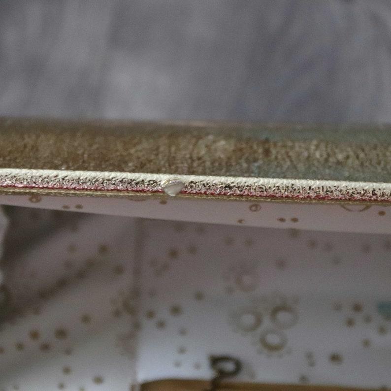 1960s Gold Metallic Foil Handbag Slim Rectangle Top Handle Made in Florida