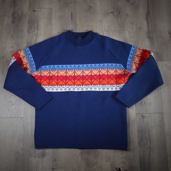 1960s Ski Sport Sweater Wool Hearts Mock Turtlenec