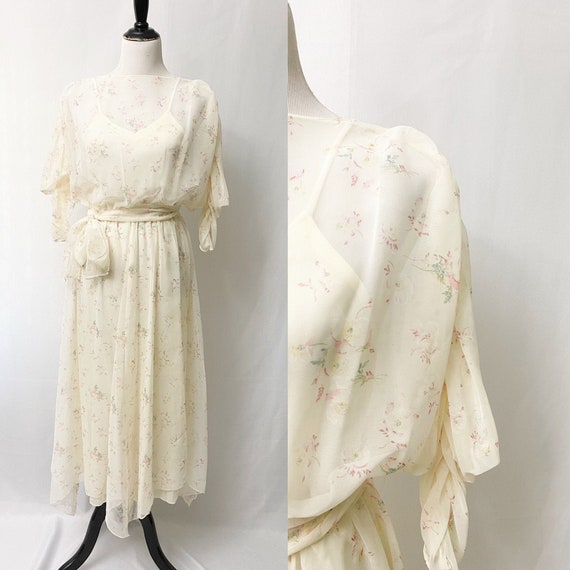 1970s Floral Sheer Dress With Slip Romantic Flora… - image 1
