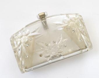1960s Lucite Plastic Clutch Clear Rhinestone Top Closure Womens Vintage Purse
