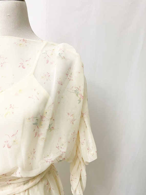 1970s Floral Sheer Dress With Slip Romantic Flora… - image 3