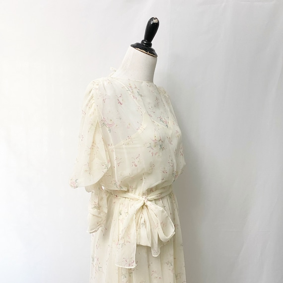 1970s Floral Sheer Dress With Slip Romantic Flora… - image 6