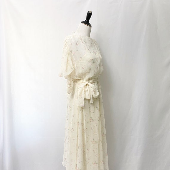 1970s Floral Sheer Dress With Slip Romantic Flora… - image 5