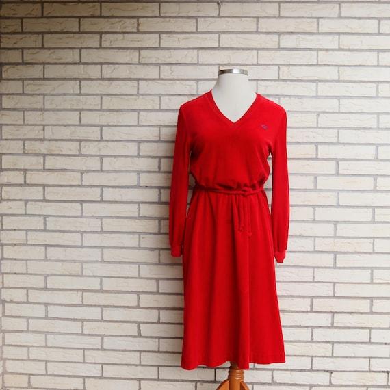 1970s David Crystal Lacoste Red Velvet Tie Waist D