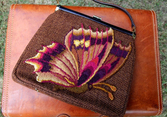 1960s Butterfly Purse Brown Tweed Open Top JR Flor