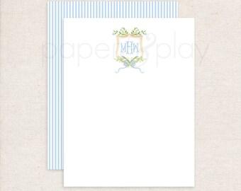 set of 10 cards and envelopes Simple Blue Crest Monogram