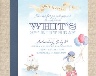 Watercolor Pirate Party Invitation