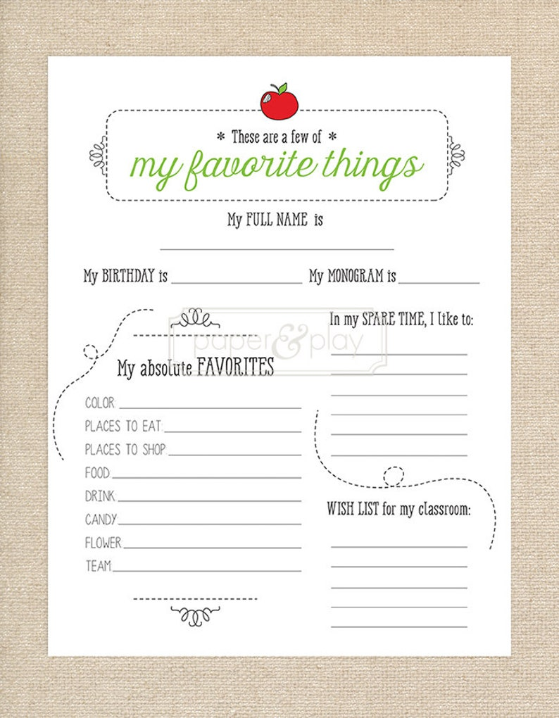 photo regarding Teacher Favorite Things Questionnaire Printable identified as Printable Trainer Beloved Elements Questionnaire