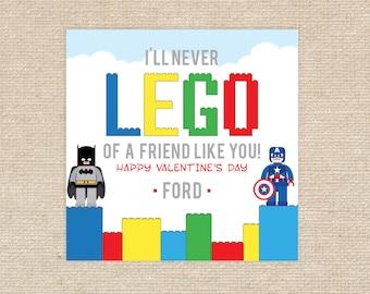 25 Printed 'Lego' Valentine Tags