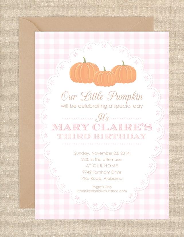 Gingham Pumpkin Invitations