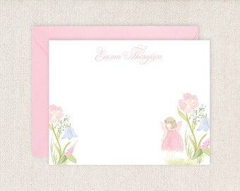 Watercolor Garden Fairy Thank you Note Cards