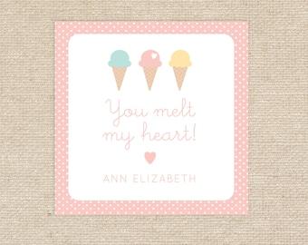25 Printed Ice Cream Valentine Treat Tags
