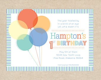 Printed Balloon Birthday Invitations