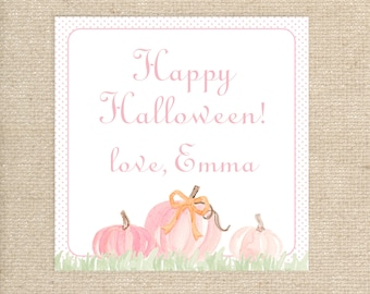 25 Personalized Pink Pumpkin Tags
