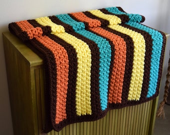 Small Vintage Handmade Brown, Coral, Yellow and Turquoise Crocheted Throw Blanket ~ Bohemian, Boho Home