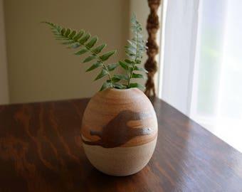 Small Vintage Ceramic Bud Vase  ~ Boho, Mid Century, Simple, Natural