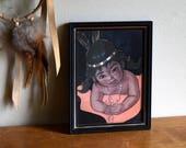 Small Framed Vintage Native American Print - South Western, Nursery, Boho, Natural, Portland Oregon