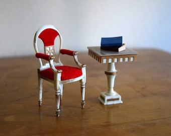 Vintage Petite Princess Dollhouse Chair & Table - Miniatures, Fairy House, Mid Century