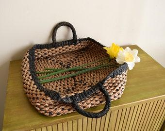 Vintage Woven Gathering Basket w/Handles ~  Bohemian, Farmhouse, Natural, Rustic, Folk