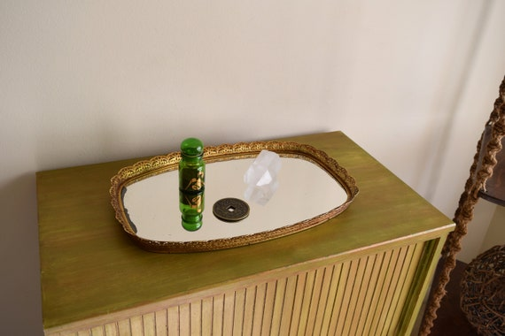 Large Vintage Gold Oval Ornate Vanity Mirror / Perfume Tray - perfect to hold crystals, jewelry & baubles.