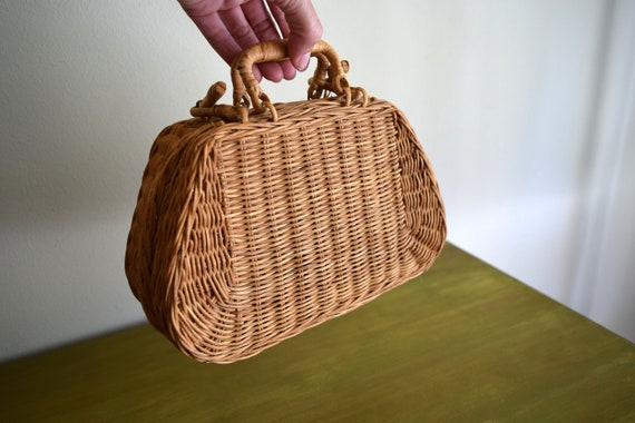 Small Vintage Wicker Rattan Purse Basket ~ Boho, Farmhouse, Simple