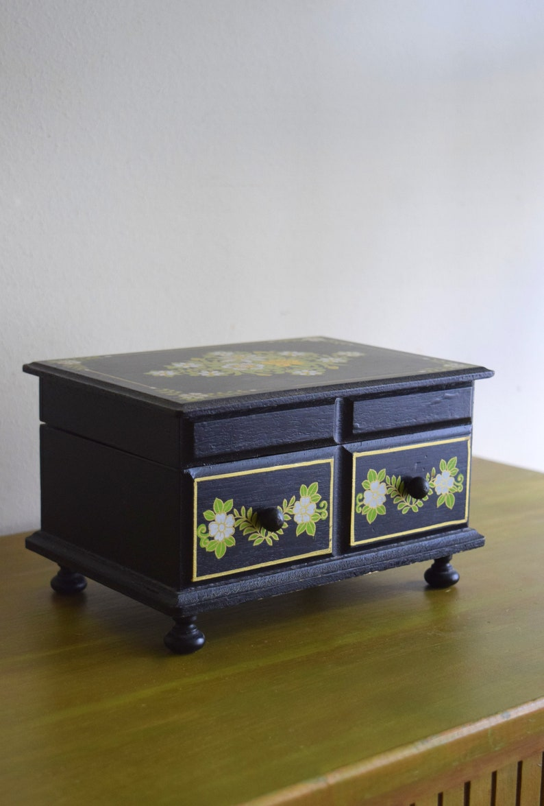 Unique Vintage Black Wood Floral Box Earth Inspired Mid Century Modern Natural Eclectic