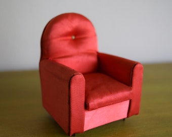 Vintage Satin Red Petite Princess Dollhouse Guest Chair - Miniatures, Mid Century, Faerie House, Tiny Things