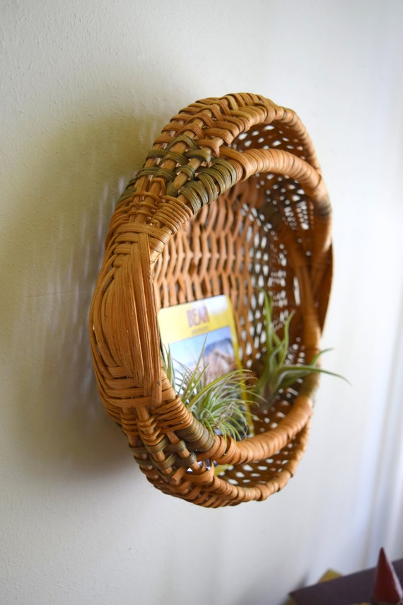 Vintage Hand Woven Basket Pocket Planter -  Bohemiam, Geometric, Natural, Earth Inspired, Eclectic