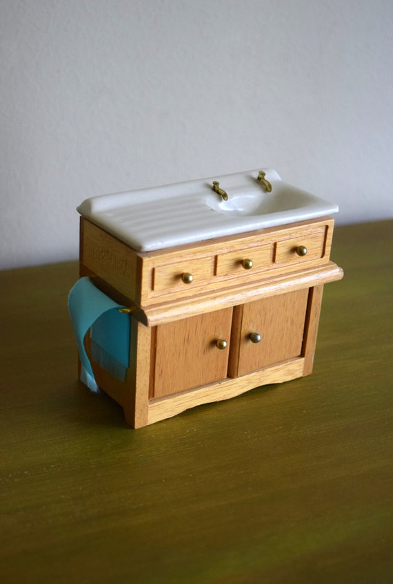 Vintage Dollhouse Kitchen Sink Base Miniatures Faerie House Tiny Things