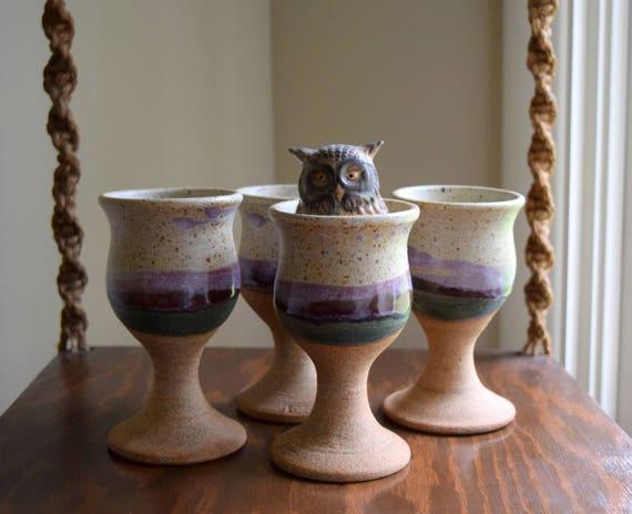 Beautiful Vintage Pottery Stoneware Goblets ~ Set of (4) ~ Boho, Geometric, Mid Century, Simple, Natural
