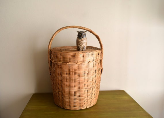 Large Vintage Hand Woven Rattan Basket -  Bohemiam,  Eclectic,  Natural, Earth Inspired,