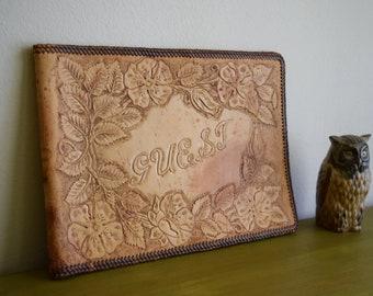 Vintage Handmade Leather Guest Book / Photo Album Cover ~ Boho, Rustic, Folk, Simple