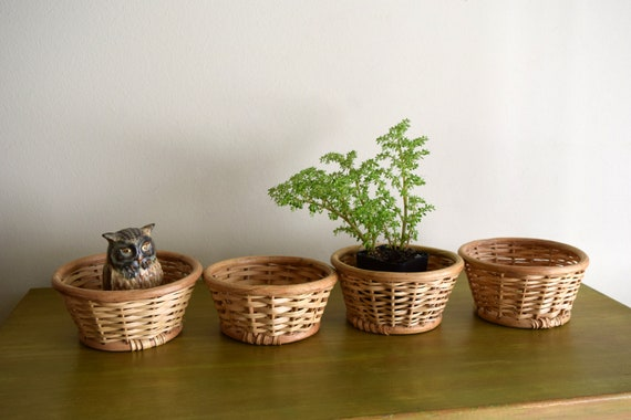 Four Small Vintage Woven Round Baskets -  Plant Holders, Bohemiam, Farmhouse, Natural, Eclectic