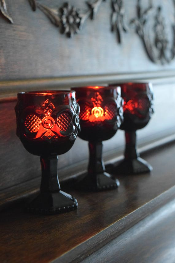 Three Small Vintage Ruby Red Goblets /Avon 1876 Cape Cod ~ Dark Beauty, Wine Glass, Candle Holders