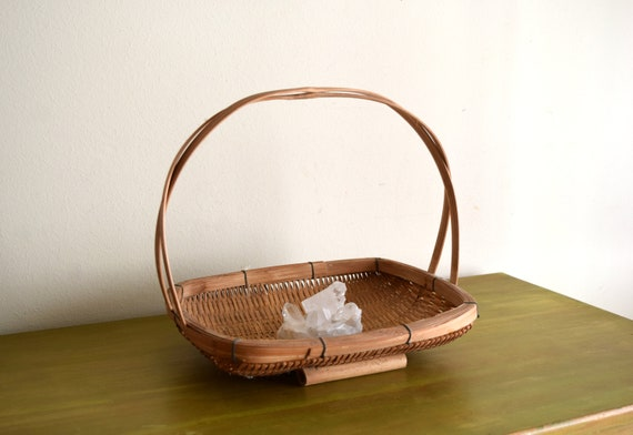 Vintage Woven Table Basket -  Bohemiam, Natural, Earth Inspired, Eclectic