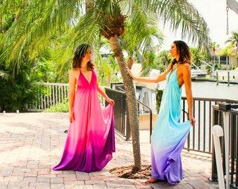 The Tahiti Dress in Sunrise, Pink ombre dress, Backless dress, Maxi dress, Resort wear dress, Beach wear cover up, honeymoon dress