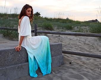The Lagoon Dress in Mediterranean Sea, Backless dress, Maxi dress, Beach wear, Swim cover up, Beach cover up, Resort wear, honeymoon