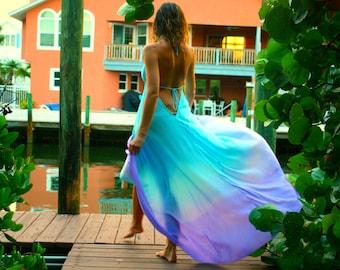 The Bali Dress in Moonlight, Blue ombre dress, Backless dress, Maxi dress, Resort wear dress, Beach wear cover up, honeymoon dress