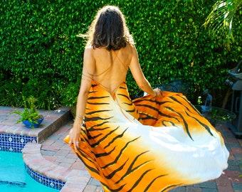 The Nahla Dress in Golden Tiger, ombre dress, Backless dress, Maxi dress, Resort wear dress, Beach wear cover up, honeymoon dress