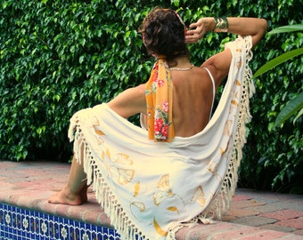 The Sierra Scarf in Art  Nouveau, Shawl, Beach accessory, Sarong, Swim cover up, Beach cover up, Resort wear, honeymoon, Tropical scarf