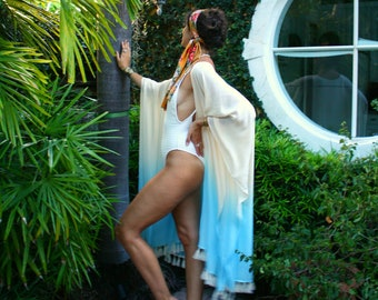 The Lucere Kimono in Art Nouveau, Beach wear, Swim cover up, Beach cover up, Resort wear, honeymoon,  Tropical cover up, shawl, scarf