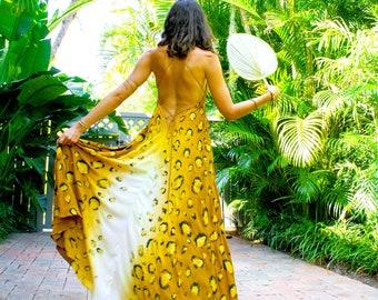 The Nahla Dress in Golden Leopard, ombre dress, Backless dress, Maxi dress, Resort wear dress, Beach wear cover up, honeymoon dress