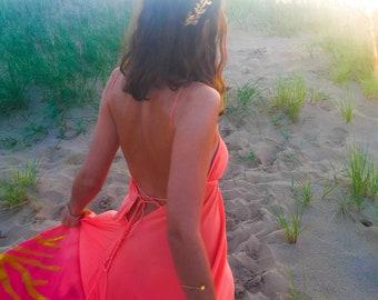 The Bahari Dress in Peach Coral, ombre dress, Backless dress, Maxi dress, Resort wear dress, Beach wear cover up, honeymoon dress